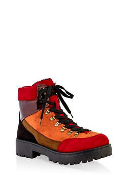 Lace Up Lug Sole Booties - 1116004069455