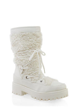 Sherpa Lace Up Boots - WHITE - 1116004069457