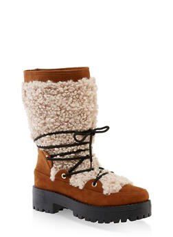 Sherpa Lace Up Boots - BROWN - 1116004069457