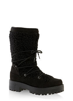Sherpa Lace Up Boots - BLACK SUEDE - 1116004069457