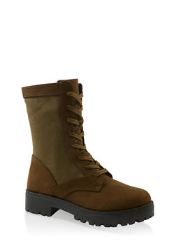 Lace Up Camo Lug Sole Combat Boots - OLIVE - 1116004069458