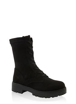 Lace Up Camo Lug Sole Combat Boots - BLACK SUEDE - 1116004069458