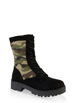 Lace Up Camo Lug Sole Combat Boots - 1116004069458