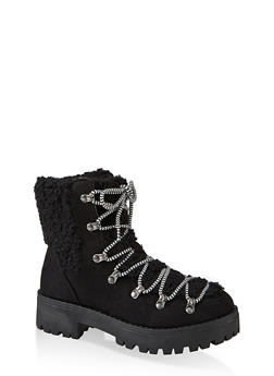 Sherpa Detail Hiking Boots - BLACK SUEDE - 1116004069459