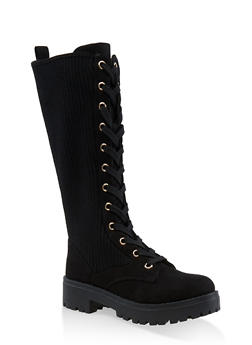 Tall Ribbed Lace Up Combat Boots - 1116004069460
