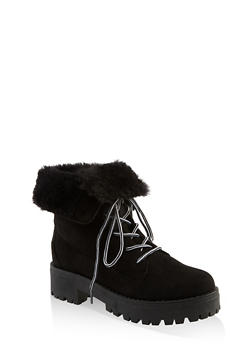 Faux Fur Collar Lace Up Work Boots - BLACK SUEDE - 1116004069461