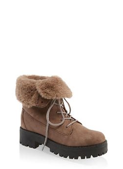 Faux Fur Collar Lace Up Work Boots - TAUPE - 1116004069461