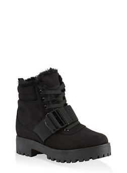 Faux Fur Lined Buckle Strap Work Boots - BLACK SUEDE - 1116004069462
