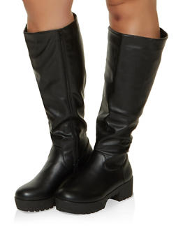 Tall Platform Wide Calf Boots - BLACK - 1116004069764