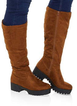 Tall Platform Wide Calf Boots - 1116004069764