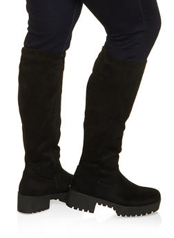 Tall Platform Wide Calf Boots - BLACK SUEDE - 1116004069764