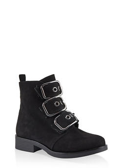 Three Buckle Ankle Booties - BLACK SUEDE - 1116014062677