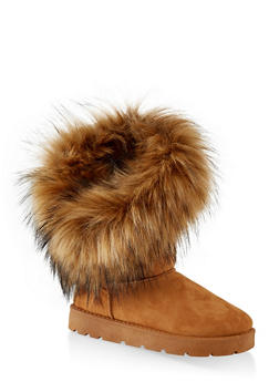 Faux Fur Lined Asymmetrical Boots - TAN - 1116014063770