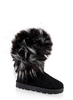 Faux Fur Lined Asymmetrical Boots - 1116014063770
