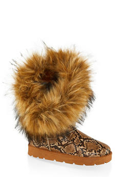 Faux Fur Lined Asymmetrical Boots - NATURAL SKIN PRINT - 1116014063770