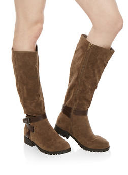 Side Zip Buckle Riding Boots - 1116014066663