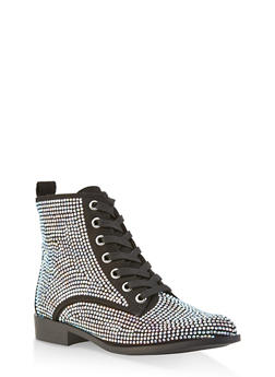 Rhinestone Studded Lace Up Ankle Booties - 1116014067377