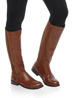 Zipper Detail Stretch Tall Boots - 1116014067458
