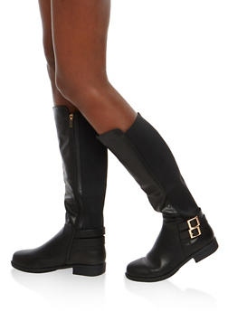 Double Buckle Faux Leather Riding Boots - 1116014067673