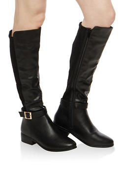 Rib Knit Calf Insert Riding Boots - 1116014068585