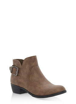 Back Buckle Booties - TAUPE PU - 1116027615868