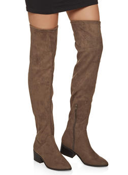 Scrunched Over the Knee Boots - TAUPE - 1116027616723