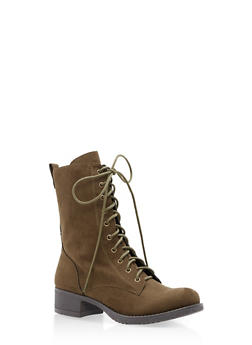 Lace Up Combat Boots - OLIVE F/S - 1116027617165