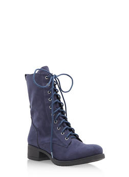 Lace Up Combat Boots - NAVY F/S - 1116027617165