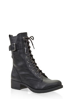 Lace Up Combat Boots - BLACK - 1116027617166