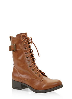 Lace Up Combat Boots - TAN - 1116027617166
