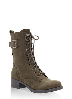 4c84ab023ad9 Lace Up Combat Boots - OLIVE - 1116027617166