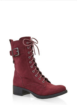 Lace Up Combat Boots - WINE - 1116027617166