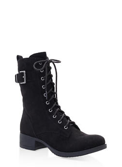 Lace Up Combat Boots - BLACK SUEDE - 1116027617166