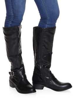 Buckle Detail Riding Boots - BLACK - 1116027617488