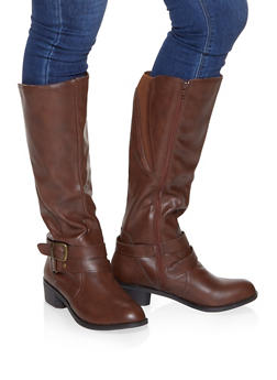 Buckle Detail Riding Boots - CHESTNUT - 1116027617488