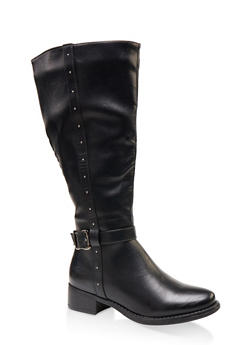 Studded Tall Wide Calf Riding Boots - BLACK - 1116029002539