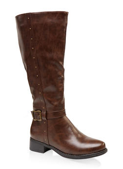 Studded Tall Wide Calf Riding Boots - BROWN - 1116029002539