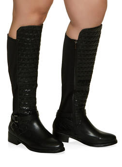 Stretch Panel Quilted Tall Wide Calf Boots - 1116029003426