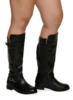 Buckle Strap Detail Wide Calf Boots - BLACK - 1116029007835