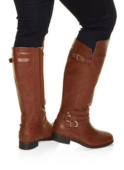 Buckle Strap Detail Wide Calf Boots - 1116029007835
