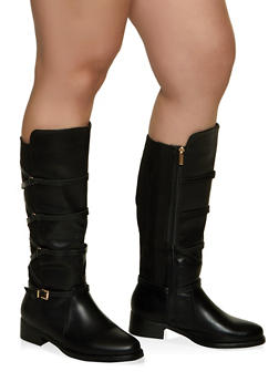 Strappy Wide Calf Boots - 1116029008432
