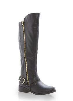 Faux Leather Zip Up Riding Boots - 1116029917530