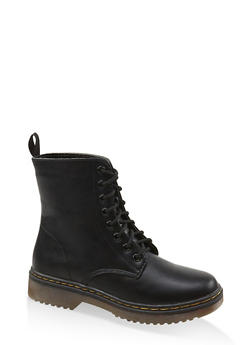 Lace Up Combat Boots - BLACK - 1116053738266