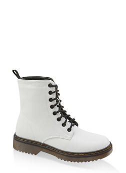 Lace Up Combat Boots - WHITE - 1116053738266