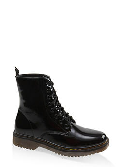 Lace Up Combat Boots - BLACK PATENT - 1116053738266