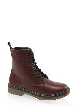 Lace Up Combat Boots - BURGUNDY - 1116053738266