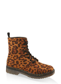 Lace Up Combat Boots - LEOPARD PRINT - 1116053738266