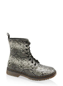 Lace Up Combat Boots - NATURAL SKIN PRINT - 1116053738266