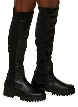 Stretch Over the Knee Boots - BLACK - 1116053872426
