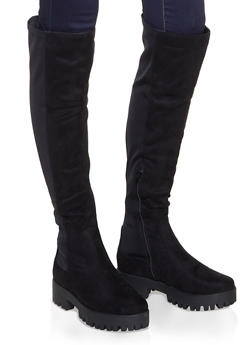 Stretch Over the Knee Boots - BLACK SUEDE - 1116053872426